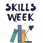 Skills week with books stacked against a desk lamp