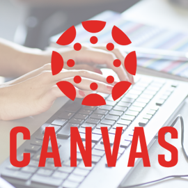 Red Canvas logo over hands typing on a keyboard