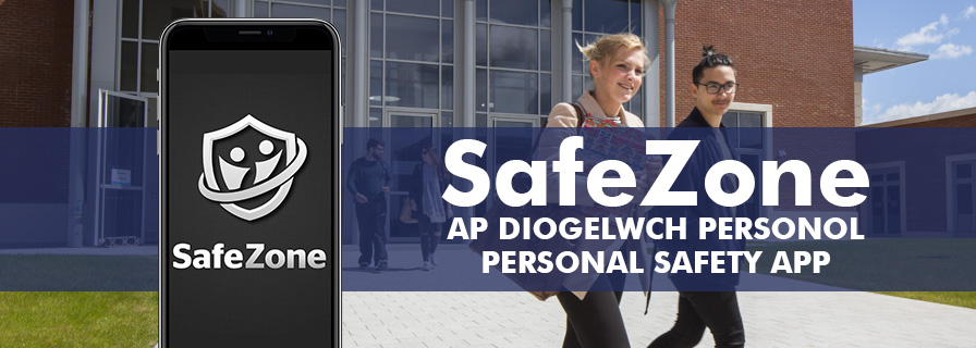 Students walking around Bay Campus and a mobile phone with Safezone app on screen