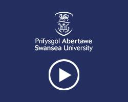 Swansea University logo and play video icon