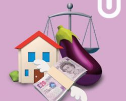 Illustration of a house, money, aubergine and weighing scales