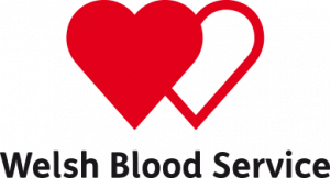 Welsh Blood Service text under two hearts