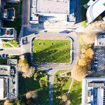 Aerial photo of Fulton House roundabout on Swansea University Singleton campus