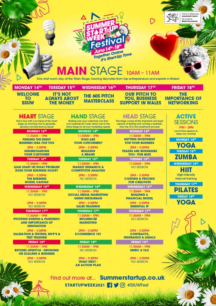 Colourful poster showing what's on at the Summer Start-up Week Festival