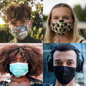 Four people wearing difference facemasks