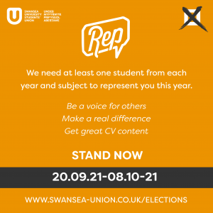 Infographic explaining that students should nominate themselves to become a Subject Rep from 20th September until 8th October.