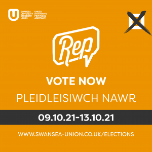 Bilingual Infographic explaining that students should vote in the Students Union Rep elections between 9th and 13th October