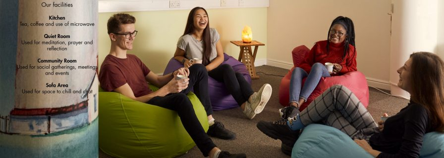 Students on bean bags