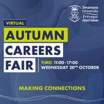 Swansea University Virtual Autumn Careers Fair, Wednesday 20 October, 11:00-17:00